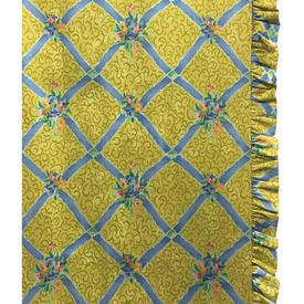 "Pair Drapes 5'3"" x 4' Lemon Floral Lattice Chintz / Frilled"