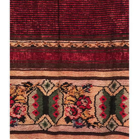 "Pair Drapes 5'3"" x 3'4"" Maroon Geo Flower Tiles Banded Chenille"