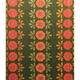 Pair Drapes 5' x 5' Khaki / Orange Floral Stripe Sateen
