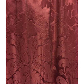 """Pair Drapes 3'3"""" x 4' Maroon Large Floral Silky Damask"""