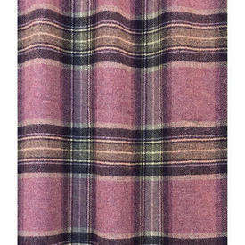 "Pair Drapes 5' x 4'6"" Pink Moon Glen Derry Tartan Wool / Mauve Lined"