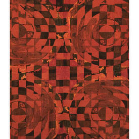 Pair Drapes 5' x 4' Burnt Moygashel Cicero Circles Print