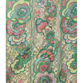 Pair Drapes 5' x 4' Mint Designers Guild Abstract Floral Stripe