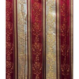 """Pair Drapes 5'6"""" x 6' Maroon Regency Stripe Brocade"""