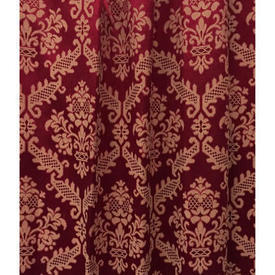 "Pair Drapes 5'6"" x 6' Red Geo Silky Damask"