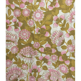 "Pair Drapes 5'6"" x 8' Olive / Rose Robert Dodd Florence Court Floral Cotton"