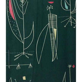 "Pair Drapes 5'6"" x 4' Bottle Lucienne Day Herb Antony Abstract Leaf"