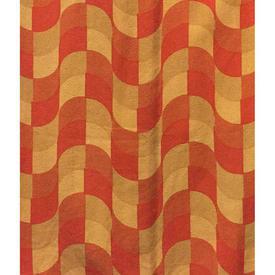 "Pair Drapes 5'6"" x 4' Orange Heal's Awning Diamond Print Barkcloth / Fringe"
