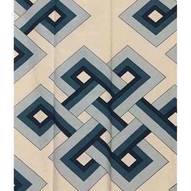 "Pair Drapes 5'6"" x 3' Teal Beavis Corinth Diamond Key Print"