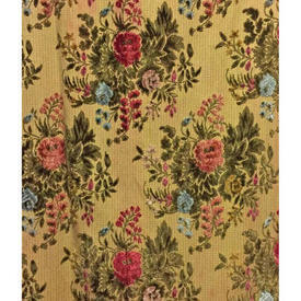"Pair Drapes 5'6"" x 2' Yellow Floral Bouquets Silky Flock"