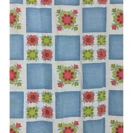 "Pair Drapes 5'6"" x 3'10"" Blue Floral Checks Print"