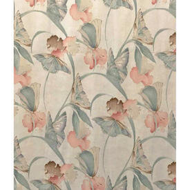 "Pair Drapes 5'9"" x 6' Aqua / Peach Home Classic Butterfly Floral Sateen"