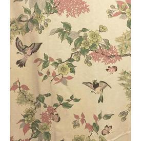 "Pair Drapes 5'9"" x 6' Peach Birds & Floral Branches Sateen"