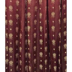 """Pair Drapes 5'9"""" x 4' Burgundy Small Wheatsheaves Stripe Brocade"""