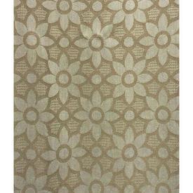 Pair Drapes 6' x 6' Beige Large Geo Floral Weave
