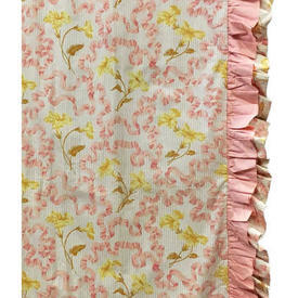 Pair Drapes 6' x 4' Apricot Floral Ribbons Chintz / Frill