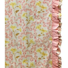 Pair Drapes 6' x 4' Apricot Floral Ribbons Chintz / Frill
