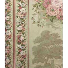 Pair Drapes 6' x 6' Sage Floral & Trees Stripe Sateen