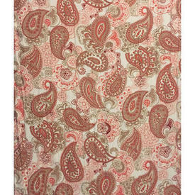 Pair Drapes 6' x 4' Terracotta Paisley Print Sateen