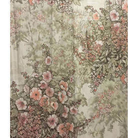 Pair Drapes 6' x 4' Beige / Peach Design Collection Hollyhocks Sateen