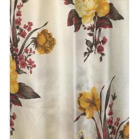 "Pair Drapes 6' x 3'6"" Yellow / Fuchsia Large Floral Nylon 'Barkcloth'"