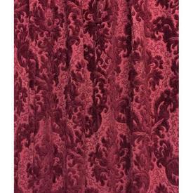 "Pair Drapes 6' x 3'7"" Burgundy Floral Scroll Cut Velvet"