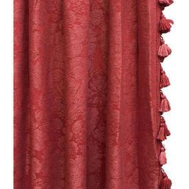 """Pair Drapes 6'3"""" x 11' Red Linwood Large Floral Leaf Damask / Tassel Fringe"""