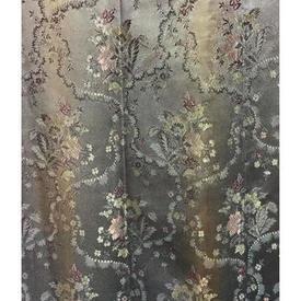 "Pair Drapes 6'3"" x 6' Grey Floral Brocade"