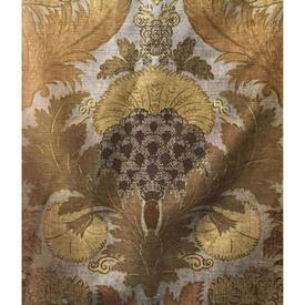 "Pair Drapes 6'3"" x 6' Gold Floral Stencil Print Sateen"