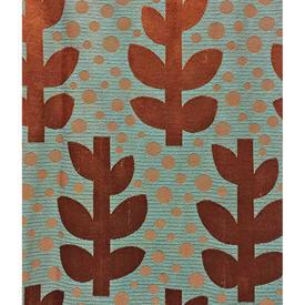 "Pair Drapes 6'3"" x 6' Aqua / Rust Silky Leaf Patt"