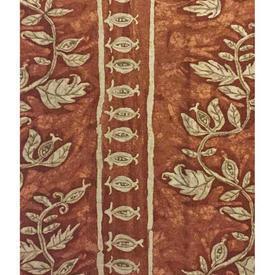 "Pair Drapes 6'3"" x 4' Tan Leaf Stripe Linen"