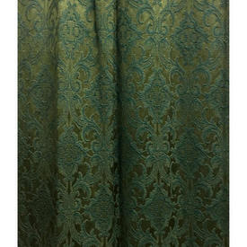 "Pair Drapes 6'3"" x 4' Emerald Small Classical Silky Brocade"