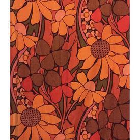 "Pair Drapes 6'3"" x 5' Burnt Moygashel Desdemona Large Floral Polycotton"