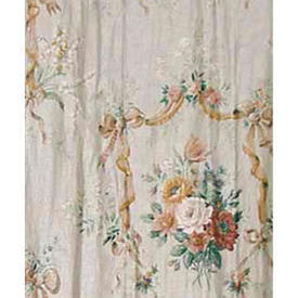 "Pair Drapes 6'6"" x 4' Silver Floral Bouquet Chintz"