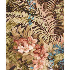 "Pair Drapes 6'6"" x 6'6"" Brown Large Floral & Fern Linen"