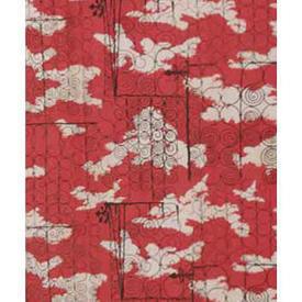 "Pair Drapes 6'6"" x 5' Red Iron Gates Print Barkcloth"