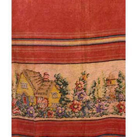 "Pair Drapes 6'6"" x 3'3"" Burnt Chenille / Cottage Garden Band"