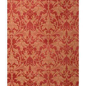 "Pair Drapes 6'6"" x 4' Red Classical Leaf Damask"