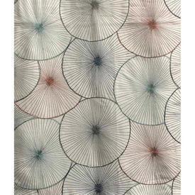 "Pair Drapes 6'6"" x 4'2"" Ivory / Multi Circles Emb Silk"