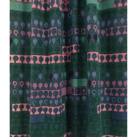 "Pair Drapes 6'9"" x 4' Teal Heal's Cherry Orchard Abstract Stripe"