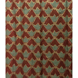 "Pair Drapes 6'9"" x 8' Maroon Osborne & Little Chevron Chintz"