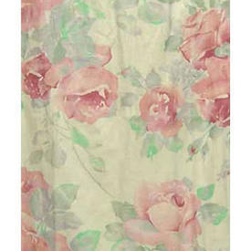 "Pair Drapes 6'9"" x 6' Rose / Mint Designers Guild Large Rose Print Linen"