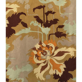 "Pair Drapes 6'9"" x 6' Tan / Brown/Orange Large Abstract Floral Print"