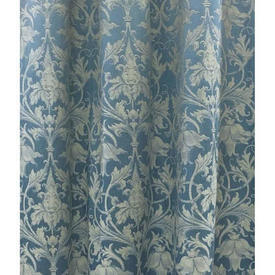 "Pair Drapes 6'8"" x 8' Blue Classical Leaf Damask"
