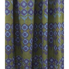 """Pair Drapes 6'8"""" x 7'8"""" Khaki Heal's Verdure Circ Floral Stripe"""