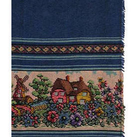 "Pair Drapes 6'9"" x 3'6"" Royal Cottage & Flowers Banded Stripe Chenille"