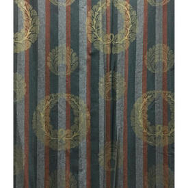 "Pair Drapes 6'9"" x 4' Airforce Hill & Knowles Wreath Motif Stencil Stripe"
