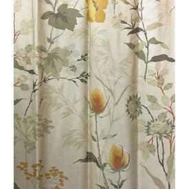 "Pair Drapes 6'9"" x 7'4"" Cream / Yellow/Green Floral Slub Sateen"