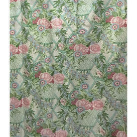 Pair Drapes 7' x 6' Mint Floral Trellis Chintz