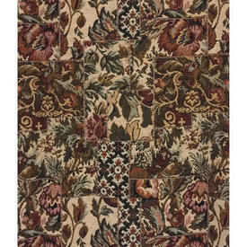 Pair Drapes 7' x 6' Chestnut / Khaki Floral Patch Tapestry